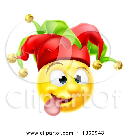 Clipart of a 3d Yellow Male Smiley Emoji Emoticon Face Court Jester Making a Funny Face - Royalty Free Vector Illustration by AtStockIllustration
