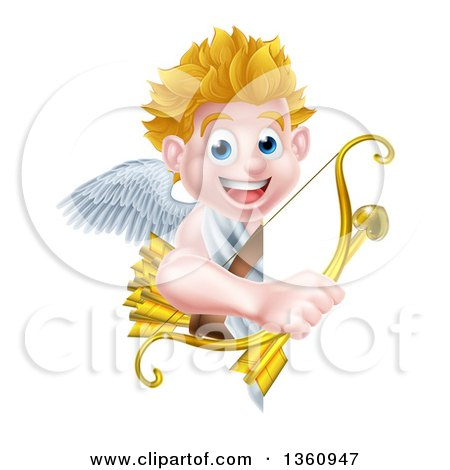 Clipart of a Happy Blond Caucasian Valentines Day Cupid Holding a Gold Heart Arrow and His Bow Around a Sign - Royalty Free Vector Illustration by AtStockIllustration