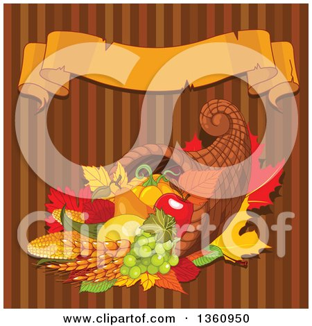 Clipart of an Autumn Harvest Cornucopia with Wheat Fruits and Vegetables over Brown Stripes with a Blank Ribbon Banner - Royalty Free Vector Illustration by Pushkin