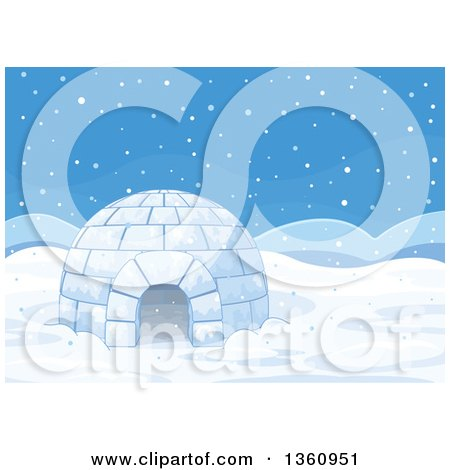 Clipart of an Igloo of Ice on a Snowy Day - Royalty Free Vector Illustration by Pushkin