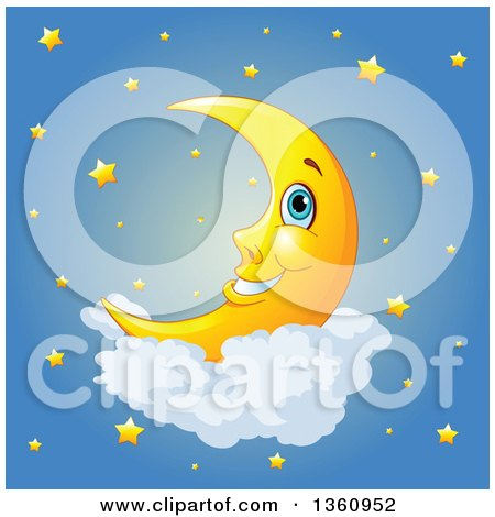 Clipart of a Cartoon Happy Crescent Moon Resting on a Cloud over a Sky of Stars - Royalty Free Vector Illustration by Pushkin