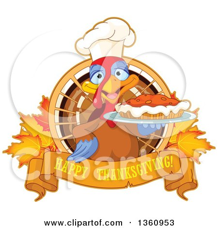 Clipart of a Chef Turkey Bird Holding a Pumpkin Pie over a Happy Thanksgiving Banner over Leaves - Royalty Free Vector Illustration by Pushkin