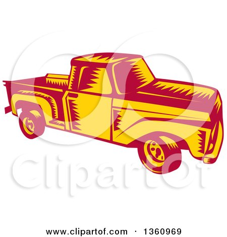 Clipart of a Retro Woodcut Yellow and Red Vintage Pickup Truck - Royalty Free Vector Illustration by patrimonio