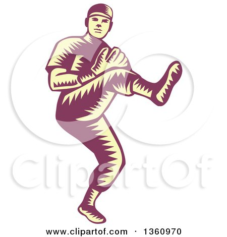 Clipart Of A Retro Purple And Yellow Woodcut Baseball Player Pitching Royalty Free Vector Illustration
