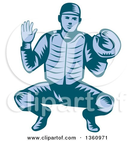Clipart of a Retro Woodcut Blue Baseball Catcher in a Squat Position - Royalty Free Vector Illustration by patrimonio