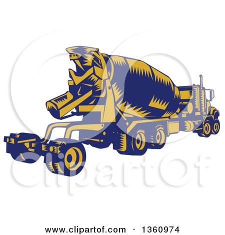 Clipart of a Retro Yellow and Blue Woodcut Cement Truck, Rear View - Royalty Free Vector Illustration by patrimonio