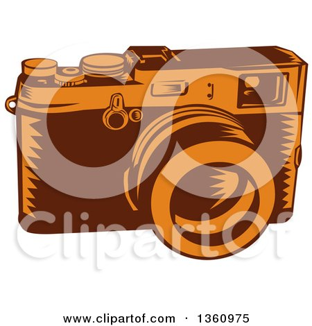 Clipart of a Retro Woodcut Brown and Orange 35mm Camera - Royalty Free Vector Illustration by patrimonio