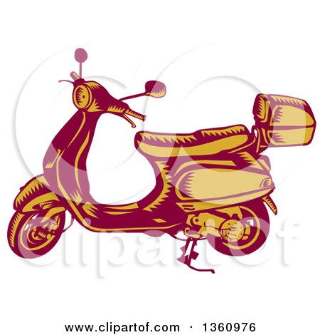 Clipart of a Retro Yellow and Red Woodcut Vintage Scooter - Royalty Free Vector Illustration by patrimonio