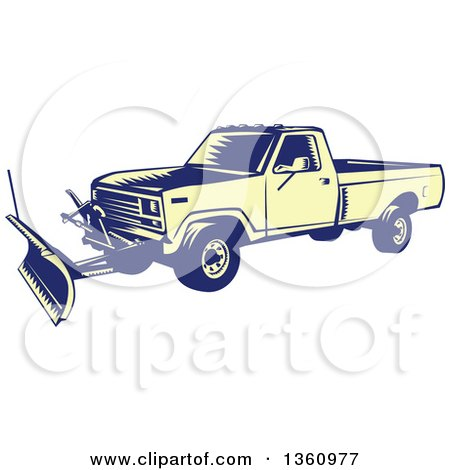 Clipart of a Retro Yellow and Blue Woodcut Snow Plow Truck - Royalty Free Vector Illustration by patrimonio