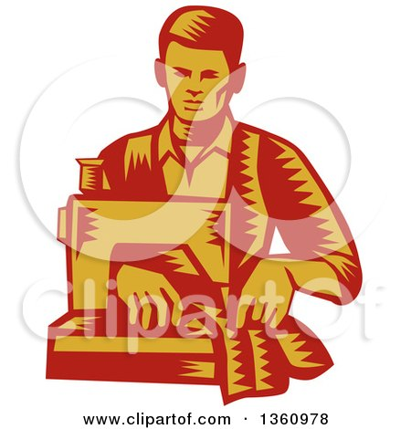 Clipart of a Retro Red and Yellow Woodcut Male Tailor Operating a Sewing Machine - Royalty Free Vector Illustration by patrimonio