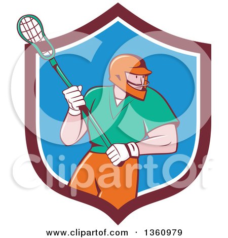 Clipart of a Retro Cartoon White Male Lacrosse Player with a Stick in a Maroon White and Blue Shield - Royalty Free Vector Illustration by patrimonio