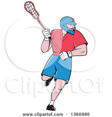 Clipart of a Cartoon White Male Lacrosse Player with a Stick - Royalty Free Vector Illustration by patrimonio