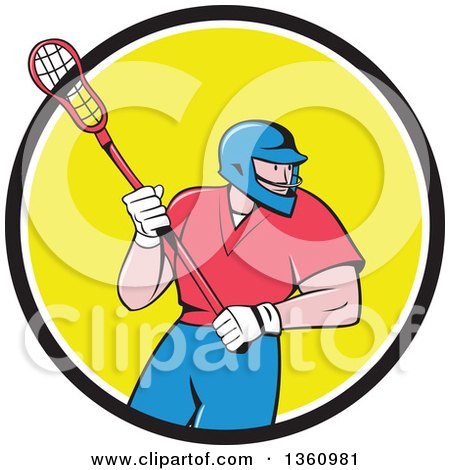 Clipart of a Cartoon White Male Lacrosse Player with a Stick in a Black White and Yellow Circle - Royalty Free Vector Illustration by patrimonio