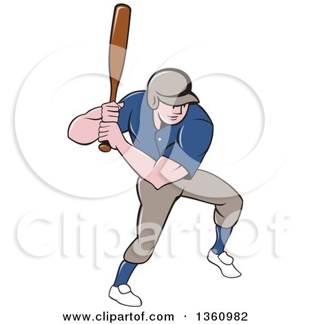 Clipart of a Cartoon White Male Baseball Player Athlete Batting - Royalty Free Vector Illustration by patrimonio