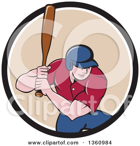 Clipart Of A Cartoon White Male Baseball Player Athlete Batting In A Black White And Beige Circle Royalty Free Vector Illustration