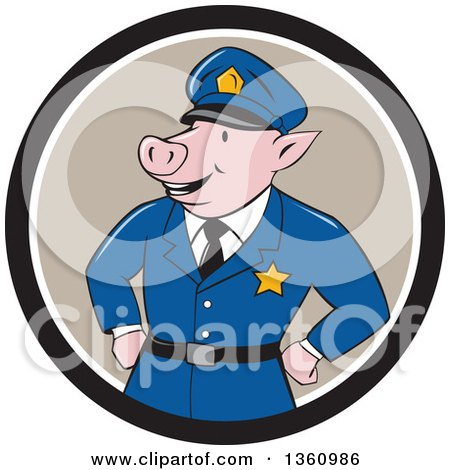 Clipart of a Cartoon Police Officer Pig with His Hands on His Hips in a Black Taupe and White Circle - Royalty Free Vector Illustration by patrimonio