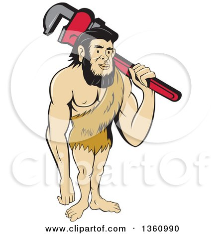 Cartoon Neanderthal Caveman Plumber Holding a Monkey Wrench over His Shoulder Posters, Art Prints