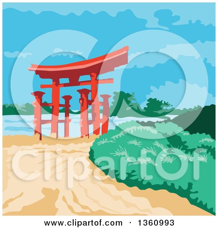 Clipart of a Retro Wpa Styled Tori Japanese Gate - Royalty Free Vector Illustration by patrimonio