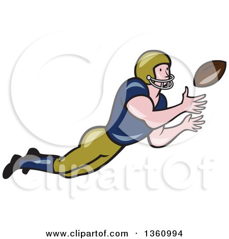 Clipart of a Cartoon White Male American Football Girdiron Player Catching a Football - Royalty Free Vector Illustration by patrimonio