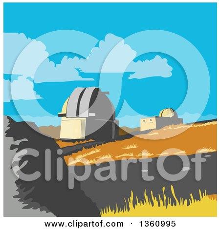 Clipart of a Retro Wpa Styled Scene of the University of Canterbury Mt John Observatory, Lake Tekapo, New Zealand - Royalty Free Vector Illustration by patrimonio