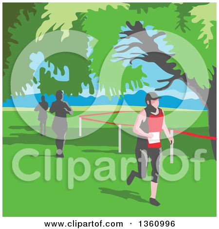 Clipart of Retro Wpa Styled Marathon Runners Under Trees - Royalty Free Vector Illustration by patrimonio