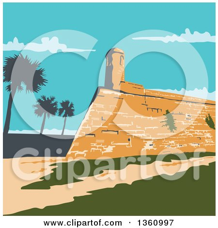Clipart of a Retro Wpa Styled Landscape of Fort Marion in St. Augustine, Florida, United States - Royalty Free Vector Illustration by patrimonio