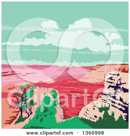 Clipart of a Retro Wpa Styled Landscape of the Grand Canyon, Arizona, United States - Royalty Free Vector Illustration by patrimonio