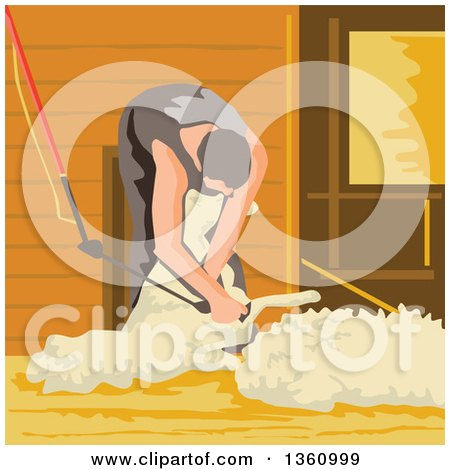 Clipart of a Retro WPA Style Male Farmer Shearing a Sheep - Royalty Free Vector Illustration by patrimonio
