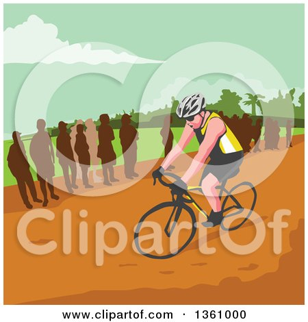 Clipart of a Retro Wpa Styled Silhouetted Crowd Watching a Male Cyclist - Royalty Free Vector Illustration by patrimonio