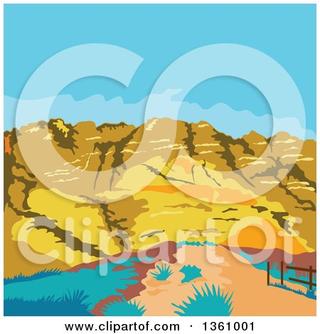 Clipart of a Retro Wpa Styled Landscape of Red Rock Canyon, Mojave Desert, Nevada - Royalty Free Vector Illustration by patrimonio