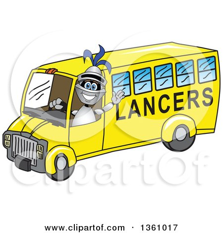 Clipart of a Lancer School Mascot Waving and Driving a Bus - Royalty Free Vector Illustration by Toons4Biz