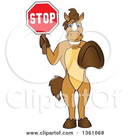 Clipart of a Horse Colt Bronco Stallion or Mustang School Mascot Character Gesturing and Holding a Stop Sign - Royalty Free Vector Illustration by Toons4Biz