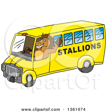 Clipart of a Horse Colt Bronco Stallion or Mustang School Mascot Character Waving and Driving a Bus - Royalty Free Vector Illustration by Toons4Biz