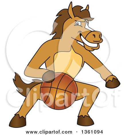 Clipart of a Horse Colt Bronco Stallion or Mustang School Mascot ...