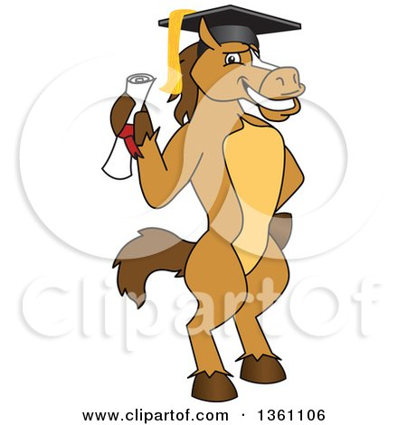 Clipart of a Horse Colt Bronco Stallion or Mustang School Mascot Character Student Graduate Holding a Diploma - Royalty Free Vector Illustration by Toons4Biz