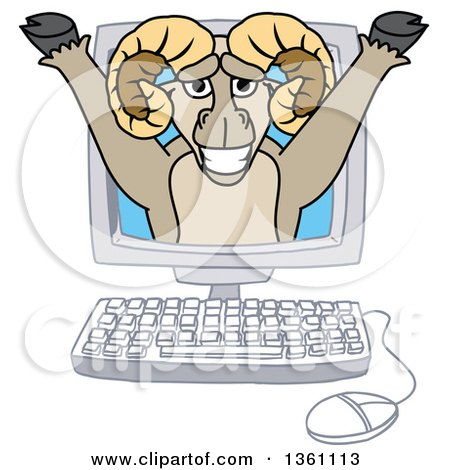 Clipart of a Ram School Mascot Character Emerging from a Desktop Computer Screen - Royalty Free Vector Illustration by Toons4Biz