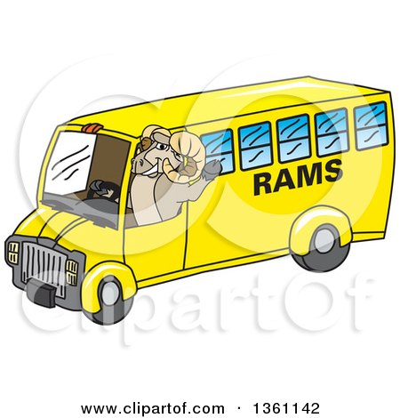 Clipart of a Ram School Mascot Character Waving and Driving a Bus - Royalty Free Vector Illustration by Toons4Biz