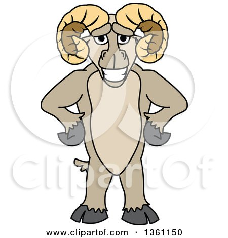 Clipart Of A Ram School Mascot Character Standing Upright With Hands On His Hips Royalty Free Vector Illustration
