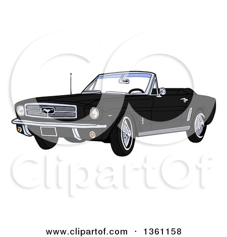 Clipart of a Cartoon Black Convertible 64 Ford Mustang Muscle Car - Royalty Free Vector Illustration by LaffToon
