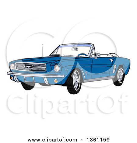 Clipart of a Cartoon Blue Convertible 64 Ford Mustang Muscle Car - Royalty Free Vector Illustration by LaffToon