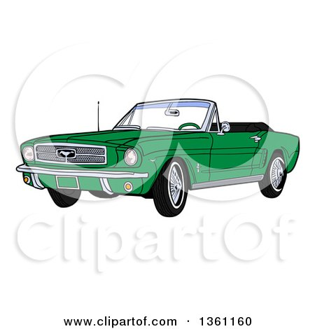 Clipart of a Cartoon Green Convertible 64 Ford Mustang Muscle Car - Royalty Free Vector Illustration by LaffToon