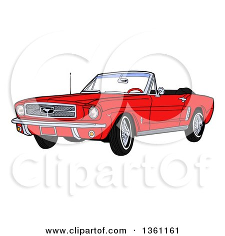 Clipart of a Cartoon Red Convertible 64 Ford Mustang Muscle Car - Royalty Free Vector Illustration by LaffToon