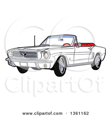 Clipart of a Cartoon White Convertible 64 Ford Mustang Muscle Car - Royalty Free Vector Illustration by LaffToon
