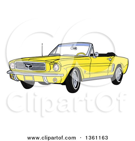 Clipart of a Cartoon Yellow Convertible 64 Ford Mustang Muscle Car - Royalty Free Vector Illustration by LaffToon