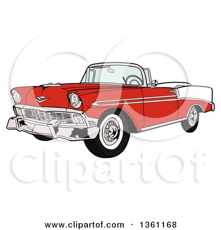 Clipart of a Cartoon Red and White 1956 Chevrolet Bel Air Classic Convertible Car - Royalty Free Vector Illustration by LaffToon
