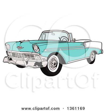 Clipart of a Cartoon Light Blue 1956 Chevrolet Bel Air Classic Convertible Car - Royalty Free Vector Illustration by LaffToon