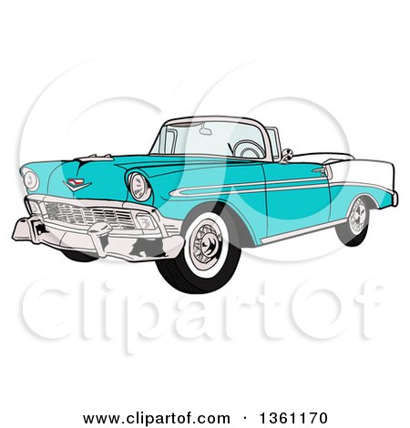 Clipart Of A Cartoon Blue 1956 Chevrolet Bel Air Classic Convertible Car    Royalty Free Vector Illustration By LaffToon
