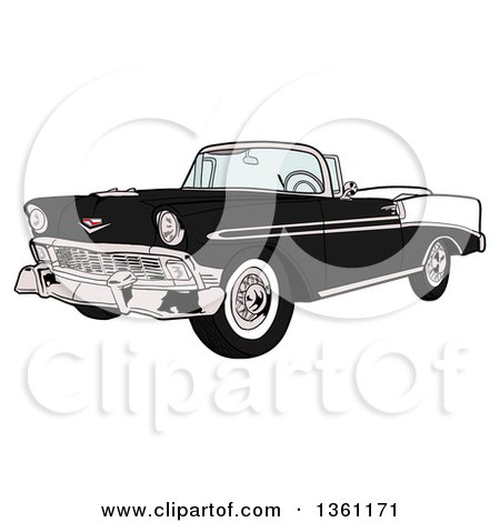 Clipart of a Cartoon Black and White 1956 Chevrolet Bel Air Classic Convertible Car - Royalty Free Vector Illustration by LaffToon