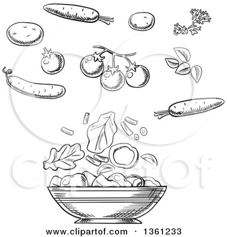 Clipart of a Black and White Sketched Salad Bowl with Vegetables - Royalty Free Vector Illustration by Vector Tradition SM