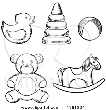 Clipart of Black and White Sketched Baby Toys - Royalty Free Vector Illustration by Vector Tradition SM